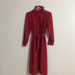 Vintage Anjac by Jack Needleman Red Dress Ruffles